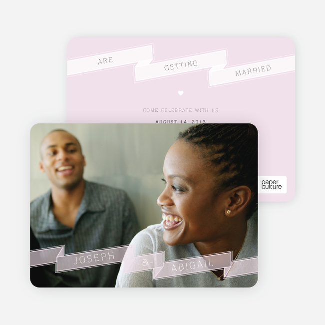 Ribbon Save the Date Cards - Purple