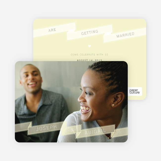 Ribbon Save the Date Cards - Yellow