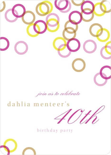 Rings Galore Party Invitations - Pink