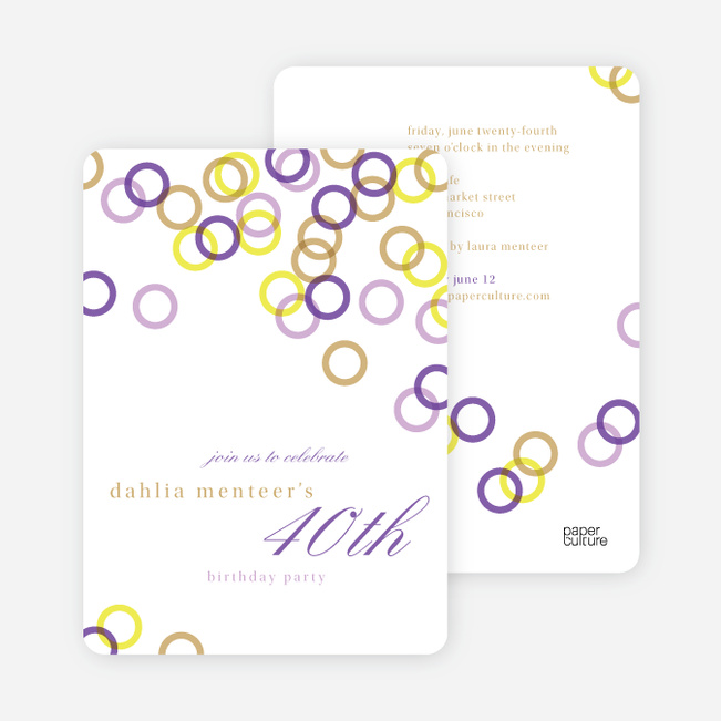 Rings Galore Party Invitations - Purple