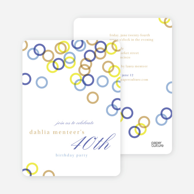Rings Galore Party Invitations - Blue