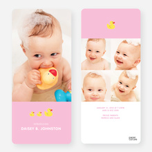 Rubber Ducky, You're the One Birth Announcements - Pink