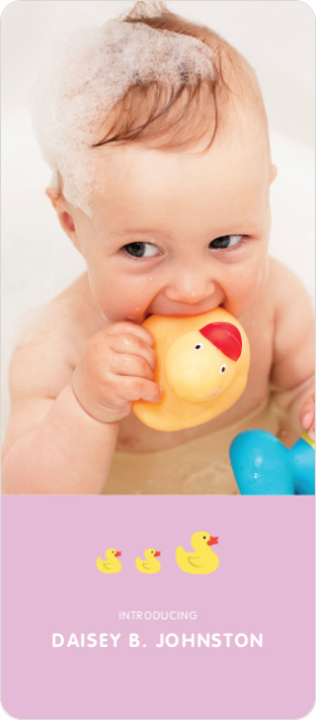 Rubber Ducky, You're the One Birth Announcements - Purple