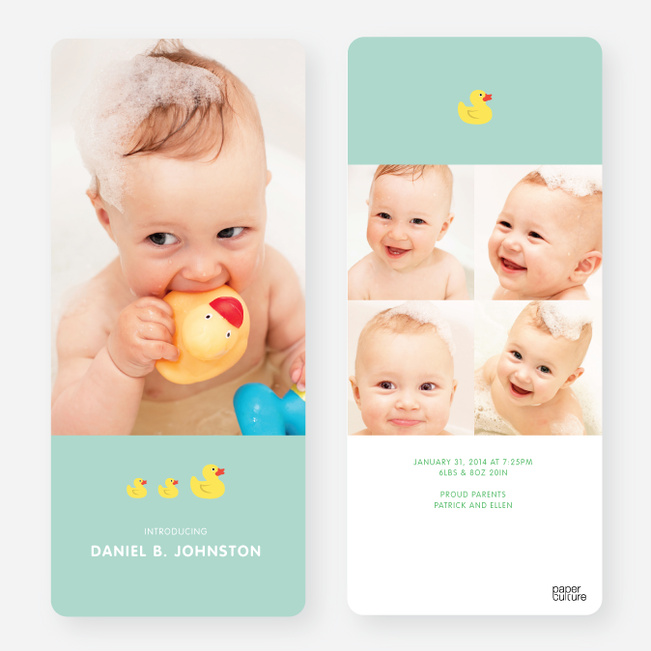 Rubber Ducky, You're the One Birth Announcements - Green