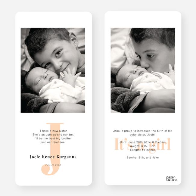 Simply Monogram Birth Announcements - Orange