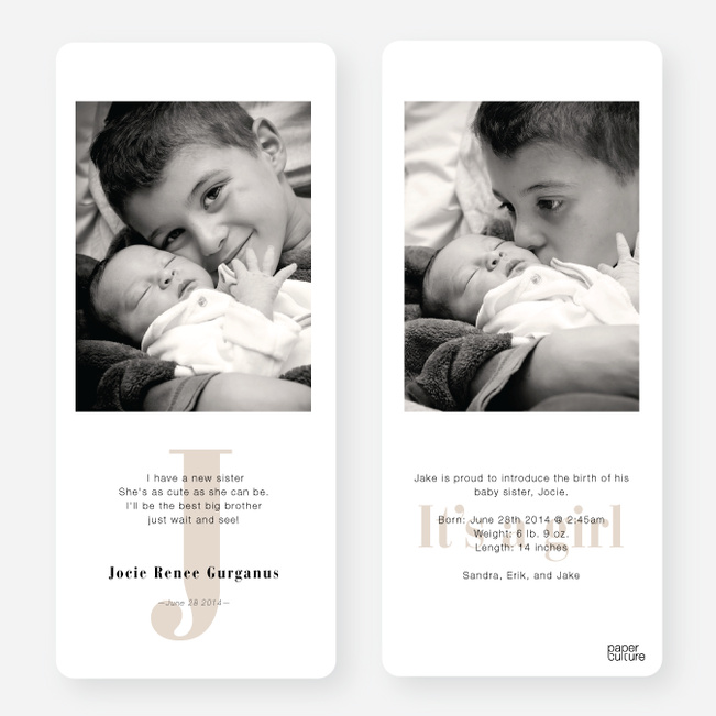 Simply Monogram Birth Announcements - Beige