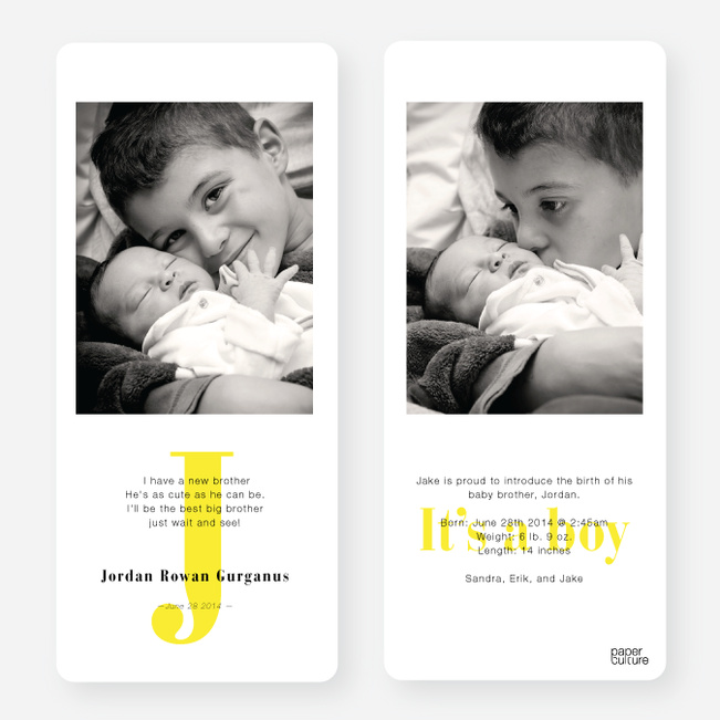 Simply Monogram Birth Announcements - Yellow