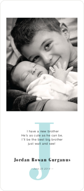 Simply Monogram Birth Announcements - Blue