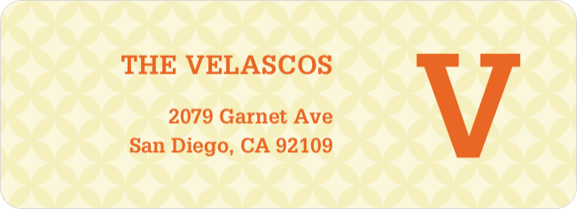 Star Pattern Address Labels - Orange