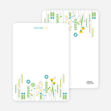 Spring Beauty Flower Shower Note Cards - Teal