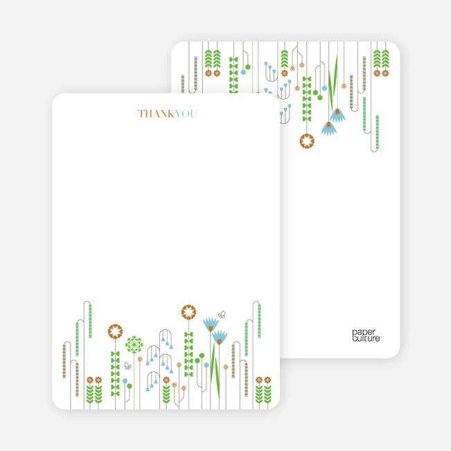 Stationery: 'Spring Beauty Flower Shower' cards. - Copper