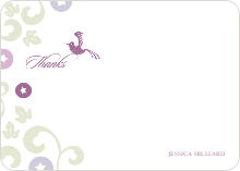 Morning Glory Wedding Shower Invites: Thank You Cards - Magenta