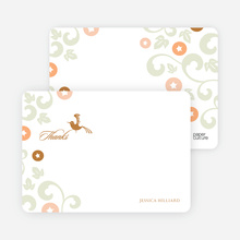 Morning Glory Wedding Shower Invites: Thank You Cards - Bronze