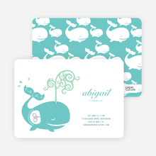 Whale Spout Modern Birthday Invitation - Aqua Blue