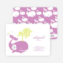 Whale Spout Modern Birthday Invitation - Lilac