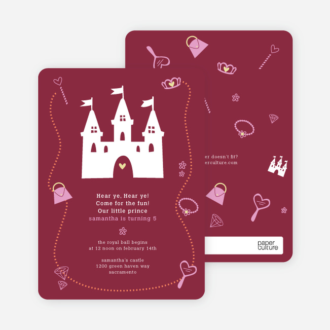 Your Princess' Birthday Invitation - Maroon