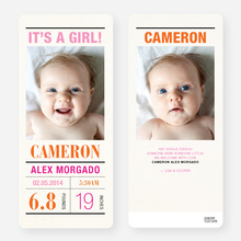 Headliner Birth Announcements - Pink