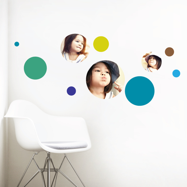 Bubble Up, Circle Photo Wall Decals - Blue