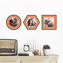 Circle, Hexagon and Square, Modern Stripe Photo Frame Decals - Brown