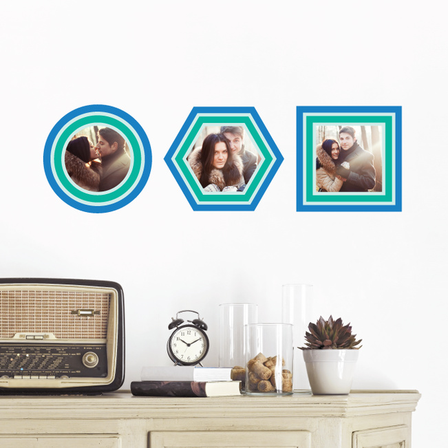 Circle, Hexagon and Square, Modern Stripe Photo Frame Decals - Blue