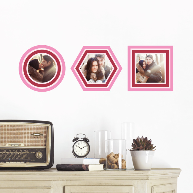 Circle, Hexagon and Square, Modern Stripe Photo Frame Decals - Pink