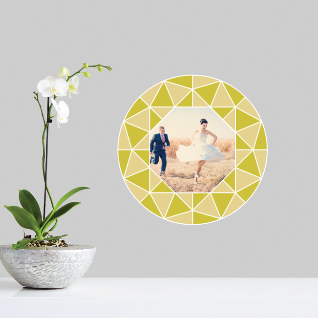 Circle of Diamonds Photo Wall Decals - Yellow
