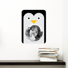 Penguin Photo Frame Sticker - Black