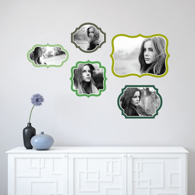 Retro Bracket Photo Frames - Green
