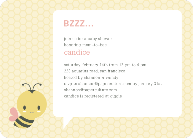 bumble bee themed baby shower invitations | paper culture, Baby shower invitations