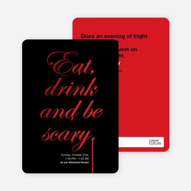 Adult Scary Script Halloween Party Invitations - Red