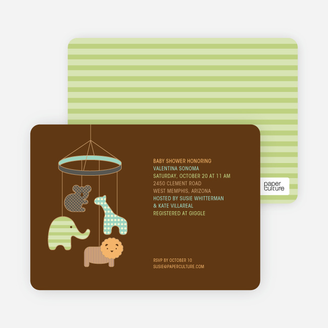 Animal Mobile Baby Shower Invitations - Mint