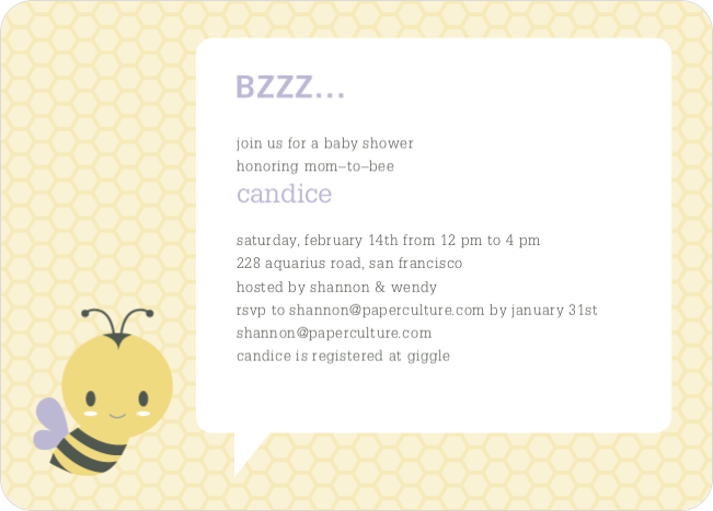 Bumble Bee Themed Baby Shower Invitations - Purple