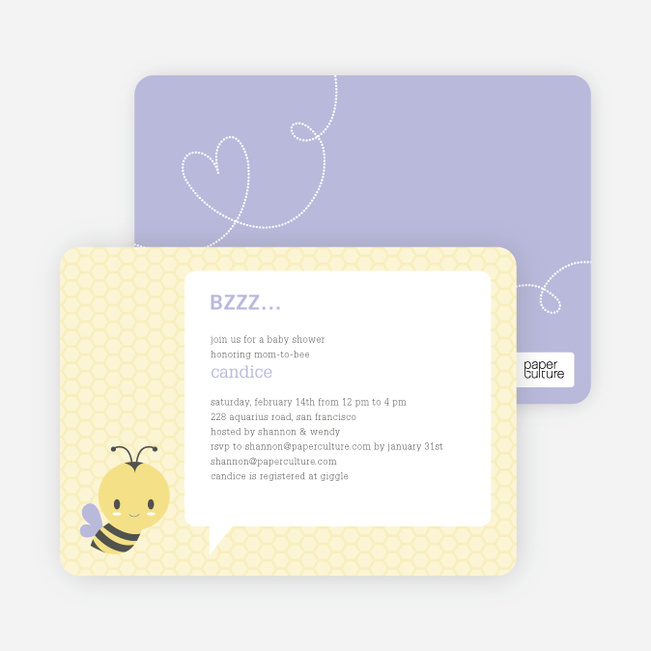 Bumble Bee Themed Baby Shower Invitations