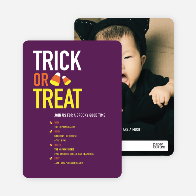 Candy Corn Motif Halloween Party Invitations - Purple
