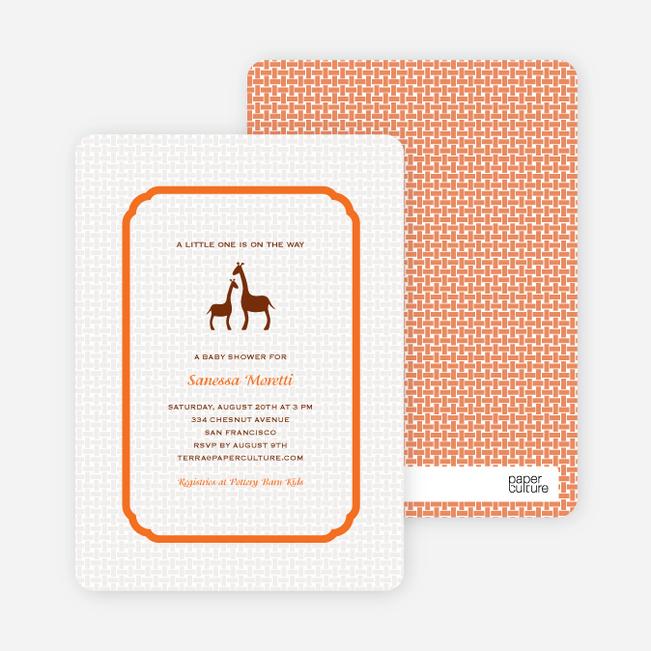 Classic Giraffe Baby Shower Invitation - Classic Orange