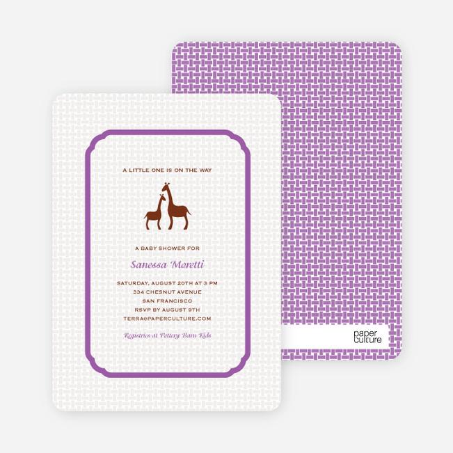 Classic Giraffe Baby Shower Invitation - Orchid