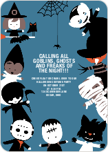 Costume Party Halloween Invitations - Azure