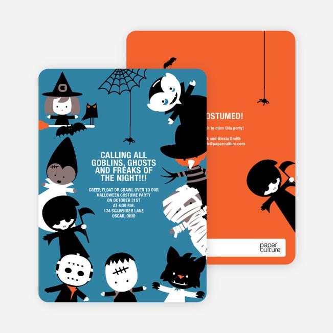Costume Party Halloween Invites - Azure