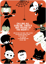 Costume Party Halloween Invitations - Orange