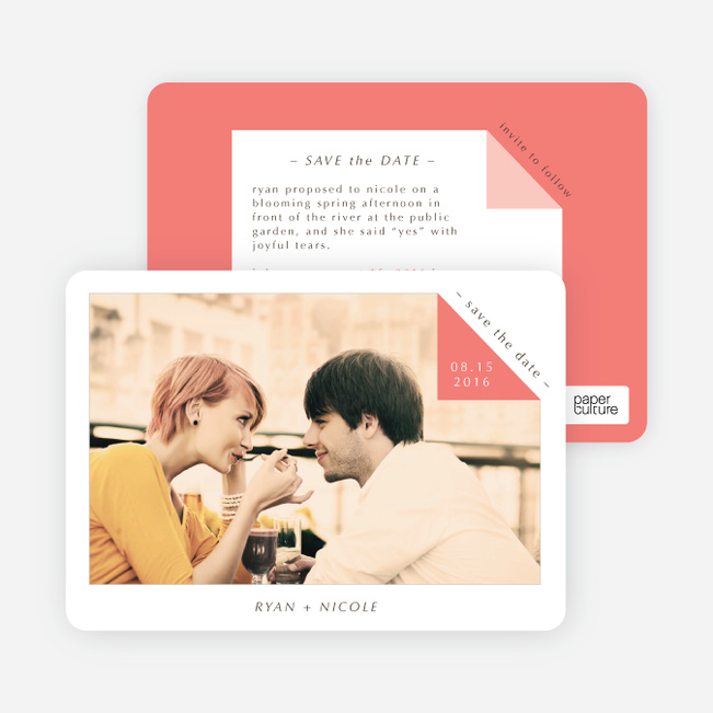 Dog Ear Corners Save the Date Cards - Red