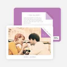 Dog Ear Corners Save the Date Cards - Purple
