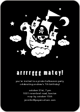Flying Pirate Ship Halloween Party Invitations - Black