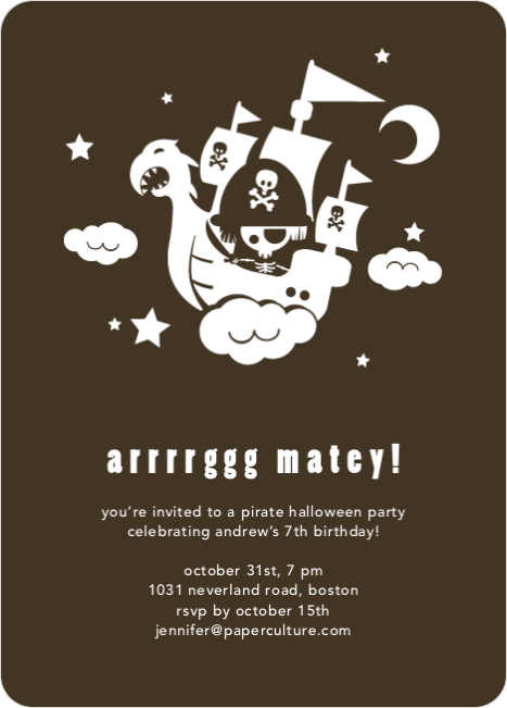 Flying Pirate Ship Halloween Party Invitations - Bark Brown