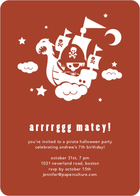 Flying Pirate Ship Halloween Party Invitations - Rust