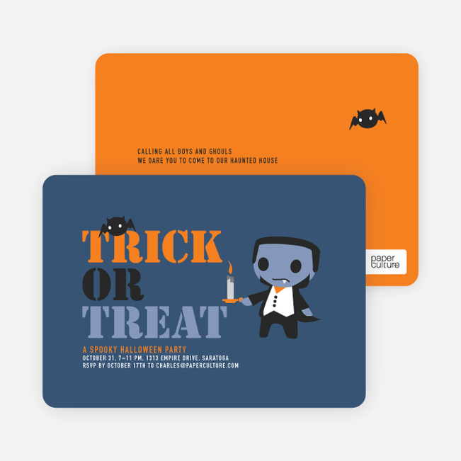 Igor and his Pet Bats Halloween Invitations - Orange