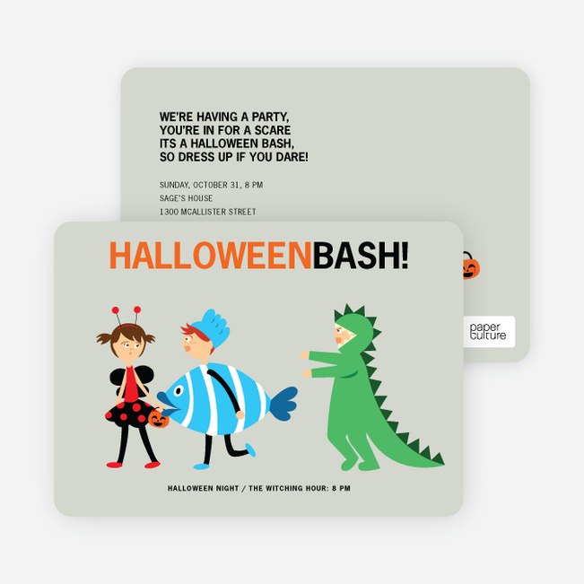 Ladybug, Fish and Alligator Costume Party Invitations - Light Blue