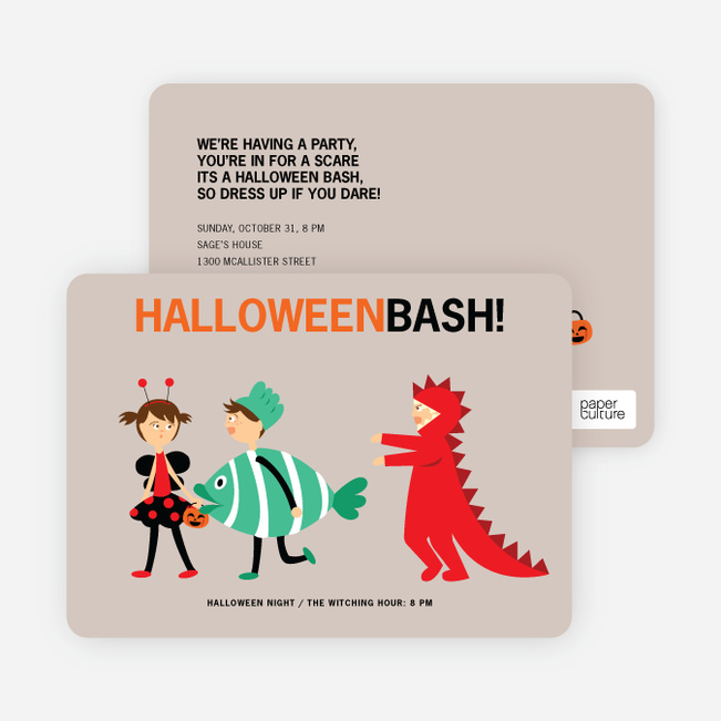ladybug, fish and alligator costume party invitations | paper culture, Party invitations