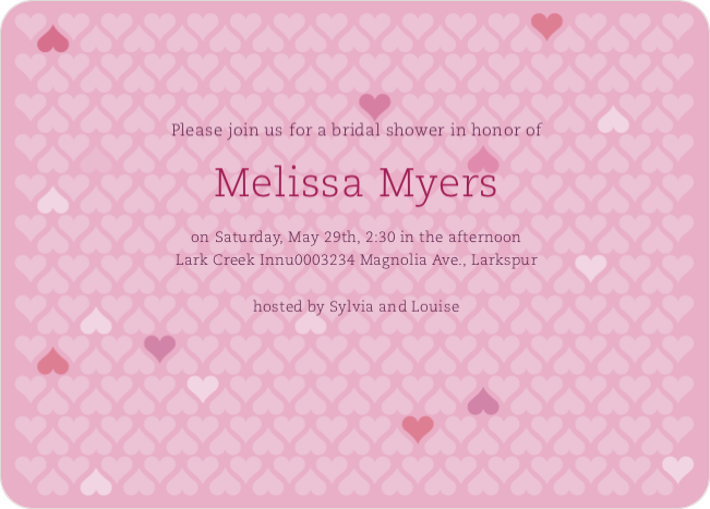 Love is in the Air Bridal Hearts Shower Invitations - Pink