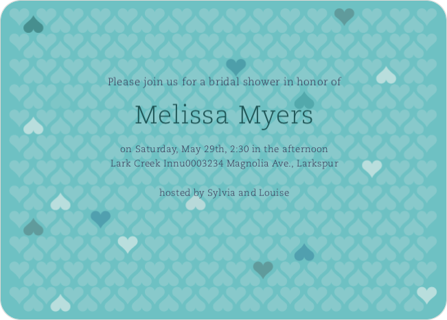 Love is in the Air Bridal Hearts Shower Invitations - Blue