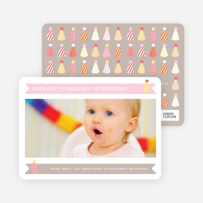Modern Photo Birthday Invitations - Pink